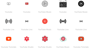 YouTube icons from Icons8